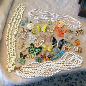 Vintage pins, earrings, necklaces